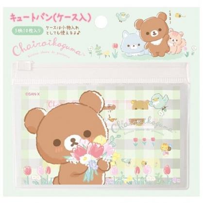 小禮堂 懶懶熊 日製 OK繃 附夾鏈袋 貼布 繃帶 絆創貼 10枚入 (綠 格紋)