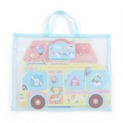 小禮堂 Sanrio大集合 造型軟墊拼圖 附手提袋 軟拼圖 EVA拼圖 巧拼玩具 (藍 巴士)