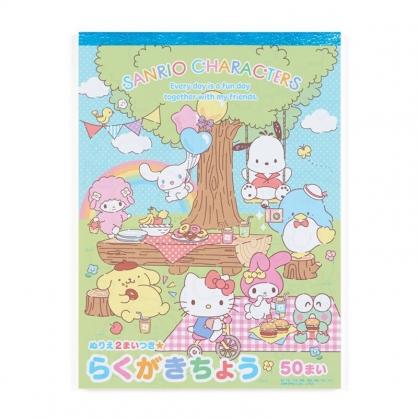 小禮堂 Sanrio大集合 日製 膠裝著色本 塗鴉本 繪圖本 彩繪本 畫本 (藍 野餐)