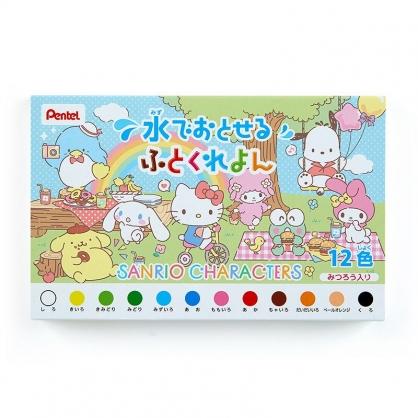 小禮堂 Sanrio大集合 日製 盒裝12色短蠟筆組 彩繪筆 塗鴉筆 繪畫筆 Pentel (藍 野餐)