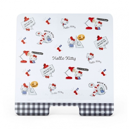 小禮堂 Hello Kitty 透明壓克力平板架 手機立架 懶人支架 Ipad架 視訊直播 (黑 2021新生活)