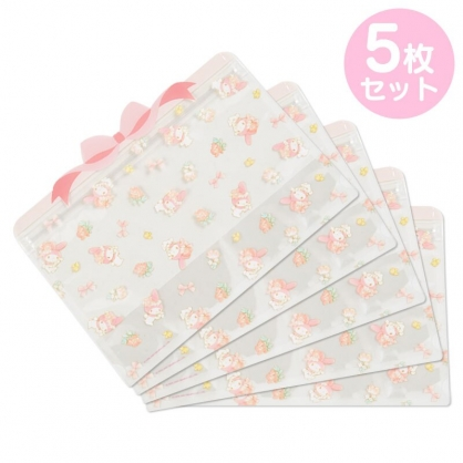 小禮堂 美樂蒂 造型透明夾鏈袋組 化妝品袋 口罩袋 飾品袋 分裝袋 (5入 粉 蝴蝶結)