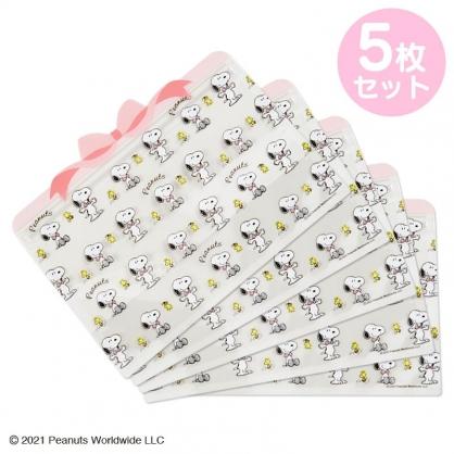小禮堂 史努比 造型透明夾鏈袋組 化妝品袋 口罩袋 飾品袋 分裝袋 (5入 粉 蝴蝶結)