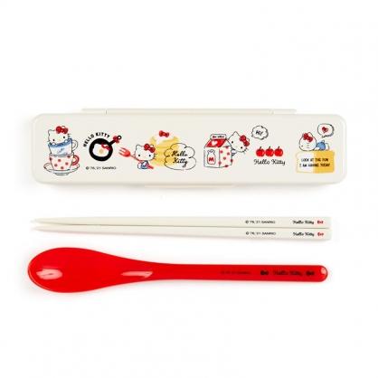 小禮堂 Hello Kitty 日製 盒裝兩件式餐具組 匙筷 塑膠餐具 環保餐具 (米 2021新生活)