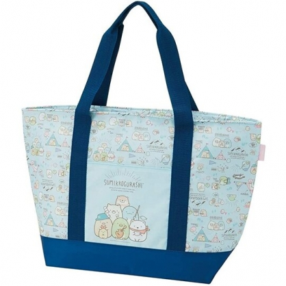 小禮堂 角落生物 船形尼龍保冷側背袋 環保購物袋 保溫袋 野餐袋 托特包 (藍 露營)