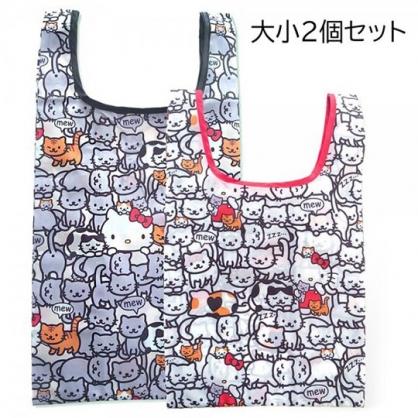 小禮堂 Hello Kitty 折疊尼龍環保購物袋組 折疊環保袋 側背袋 手提袋 (2入 白 貓咪)