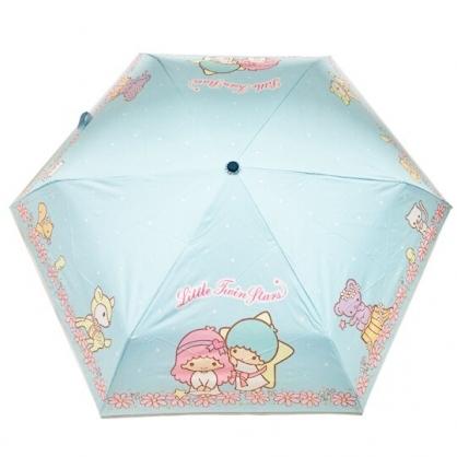 小禮堂 雙子星 抗UV折疊雨陽傘 三折雨傘 折疊雨傘 防曬傘 雨具 (藍 花朵)