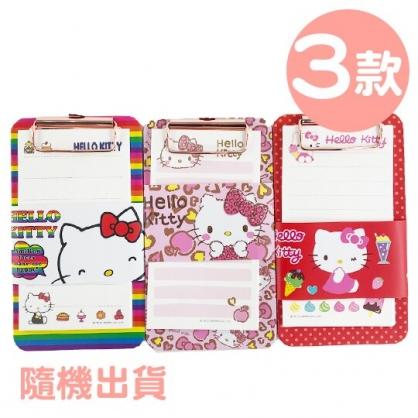 小禮堂 Hello Kitty 迷你木質文件夾板 附便條紙 資料板夾 菜單夾 木夾板 (3款隨機)