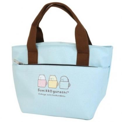 小禮堂 角落生物 尼龍雙層保冷便當袋 保冷提袋 保溫袋 野餐袋 (藍 杯子)