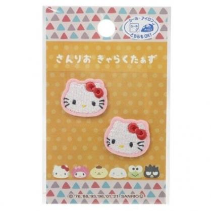 小禮堂 Hello Kitty 造型燙布貼組 口罩裝飾貼 刺繡布貼 衣服燙貼 布飾 (2入 白 大臉)