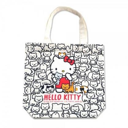 小禮堂 Hello Kitty 直式帆布側背袋 帆布托特包 手提袋 書袋 帆布袋 (黑 貓咪)