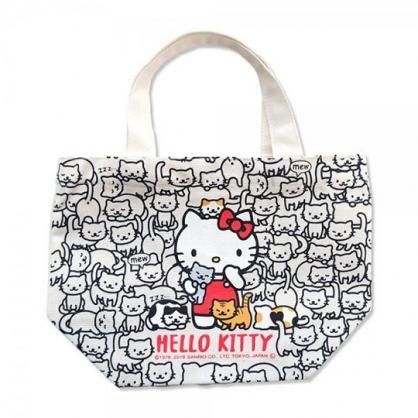 小禮堂 Hello Kitty 帆布手提袋 船形手提袋 便當袋 帆布袋 (黑 貓咪)