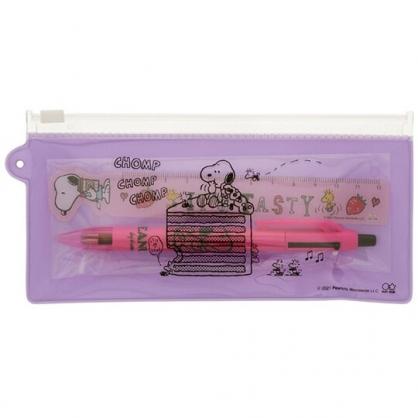 小禮堂 史努比 日製 兩件式文具組 附夾鏈袋 直尺 多色筆 原子筆 (紫 蛋糕)