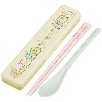 小禮堂 角落生物 日製 盒裝兩件式餐具組 匙筷 塑膠餐具 環保餐具 Ag+ (黃 花圈)