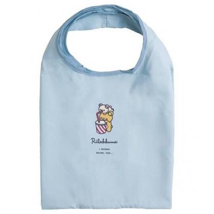 小禮堂 懶懶熊 折疊尼龍環保購物袋 折疊環保袋 側背袋 手提袋 (藍 飲料)