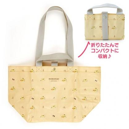 小禮堂 布丁狗 船形扣式防水購物袋 環保購物袋 防水側背袋 手提袋 (黃 滿版)