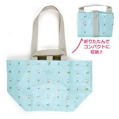 小禮堂 帕恰狗 船形扣式防水購物袋 環保購物袋 防水側背袋 手提袋 (綠 滿版)
