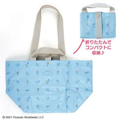 小禮堂 史努比 船形扣式防水購物袋 環保購物袋 防水側背袋 手提袋 (藍 滿版)