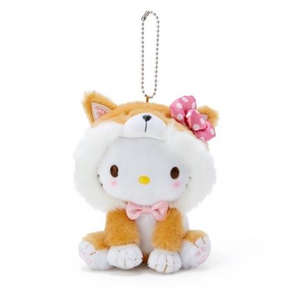 小禮堂 Hello Kitty 絨毛吊飾 柴犬吊飾 玩偶吊飾 玩偶鑰匙圈 (淺棕 調皮柴犬)