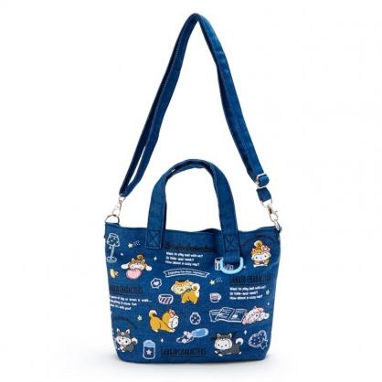 小禮堂 Sanrio大集合 船形牛仔布手提袋 牛仔布斜背袋 便當袋 (藍 調皮柴犬)
