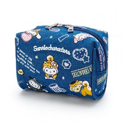 小禮堂 Sanrio大集合 牛仔布方形化妝包 牛仔布收納包 小物包 (藍 調皮柴犬)