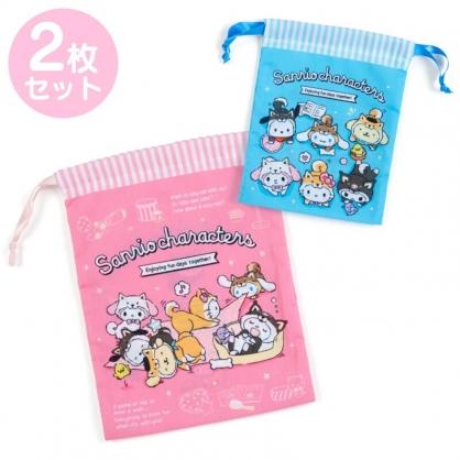 小禮堂 Sanrio大集合 棉質束口袋組 旅行收納袋 小物袋 縮口袋 (2入 藍粉 調皮柴犬)
