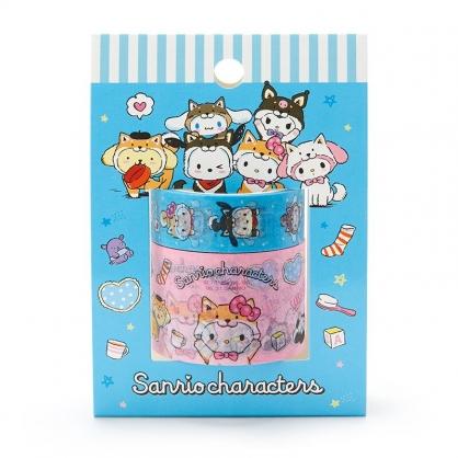 小禮堂 Sanrio大集合 紙膠帶組 寬膠帶 細膠帶 手帳膠帶 包裝膠帶  (2入 粉 調皮柴犬)