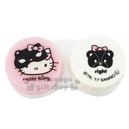 小禮堂 Hello Kitty 圓形塑膠連接盒 隨身藥盒 分裝盒 小物盒 (粉 面具)