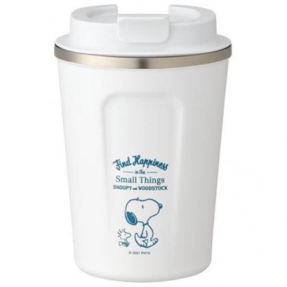 小禮堂 史努比 不鏽鋼隨行杯 不鏽鋼隨手瓶 咖啡杯 保溫杯 350ml (白 走路)