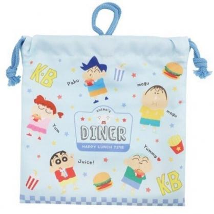 小禮堂 蠟筆小新 棉質束口袋 旅行收納袋 文具袋 小物袋 縮口袋 (藍 漢堡)