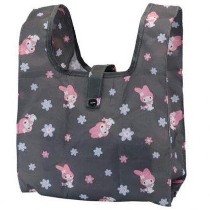小禮堂 美樂蒂 折疊尼龍環保便當袋 折疊環保袋 環保購物袋 午餐袋 (黑 花朵)