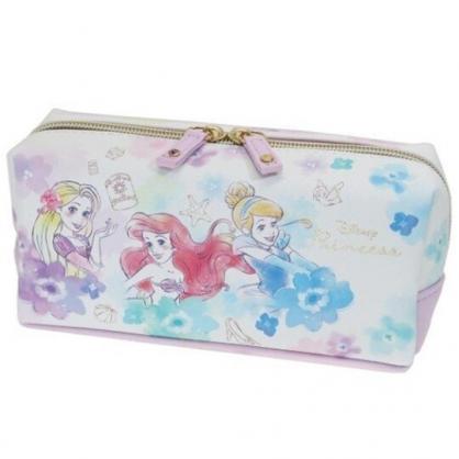 小禮堂 迪士尼 公主 皮質拉鍊筆袋 皮質筆袋 鉛筆袋 鉛筆盒 (紫 渲染花)