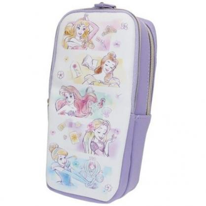 小禮堂 迪士尼 公主 直式皮質雙拉鍊筆袋 皮質筆袋 鉛筆盒 鉛筆袋 (紫 格圖)