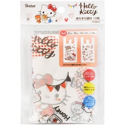 小禮堂 Hello Kitty 透明環保塑膠袋組 環保購物袋 便當袋 手提袋 (M 10入 紅)