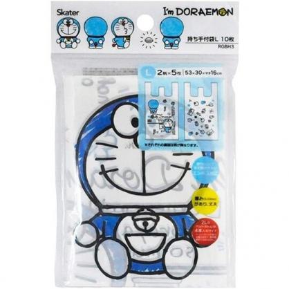 小禮堂 哆啦A夢 透明環保塑膠袋組 環保購物袋 便當袋 手提袋 (L 10入 藍)