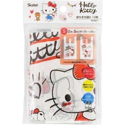 小禮堂 Hello Kitty 透明環保塑膠袋組 環保購物袋 便當袋 手提袋 (S 10入 紅)