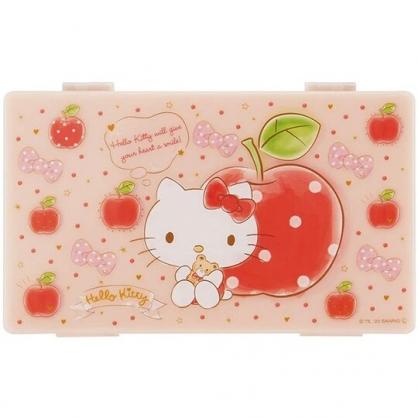小禮堂 Hello Kitty 攜帶型塑膠口罩盒 抗菌口罩盒 口罩夾 口罩套 Ag+ (粉 蘋果)