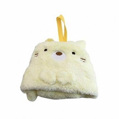 小禮堂 角落生物 可掛式造型擦手巾 吸水毛巾 擦手毛巾 方巾 30x30cm (黃 貓咪)