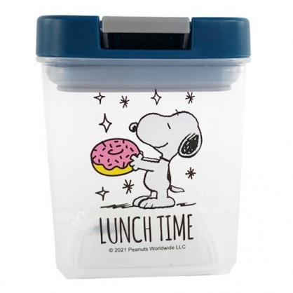 小禮堂 史努比 方形透明密封罐 食物分裝罐 保鮮罐 餅乾罐 350ml (藍 甜甜圈)