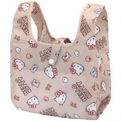 小禮堂 Hello Kitty 折疊尼龍環保便當袋 折疊環保袋 環保購物袋 午餐袋 (棕 滿版)