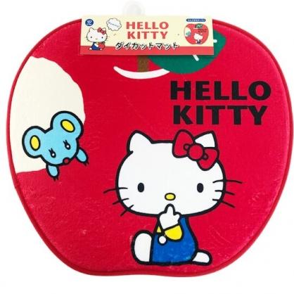 小禮堂 Hello Kitty 造型腳踏墊 吸水踏墊 浴室地墊 止滑海綿 (紅 蘋果)