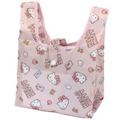 小禮堂 Hello Kitty 折疊尼龍環保便當袋 折疊環保袋 環保購物袋 午餐袋 (粉 滿版)