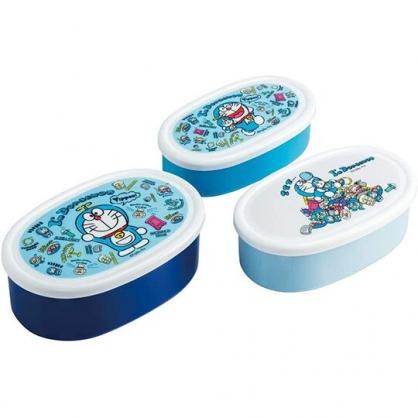 小禮堂 哆啦A夢 日製 橢圓形微波保鮮盒組 抗菌保鮮盒 塑膠保鮮盒 Ag+ (3入 藍 道具)