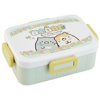 小禮堂 角落生物 日製 方形微波便當盒 四扣便當盒 塑膠便當盒 保鮮盒 650ml (綠 花圈)