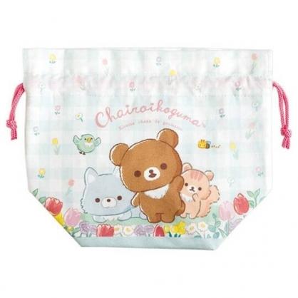 小禮堂 懶懶熊 棉質束口便當袋 保冷束口袋 保溫袋 小物袋 縮口袋 (綠 格?)