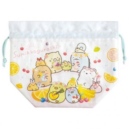 小禮堂 角落生物 棉質束口便當袋 保冷束口袋 保溫袋 小物袋 縮口袋 (白 水果)