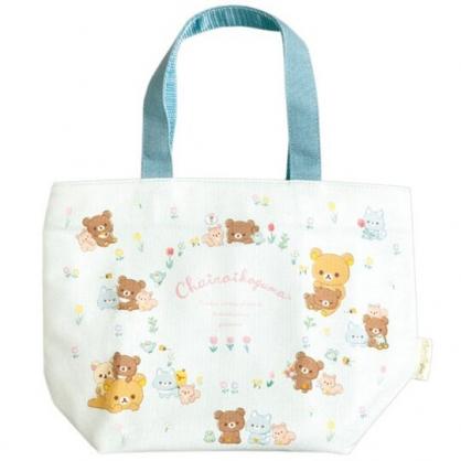 小禮堂 懶懶熊 船形帆布保冷便當袋 保冷提袋 保溫袋 野餐袋 托特包 (藍 鬱金香)