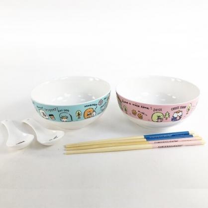 小禮堂 角落生物 陶瓷碗組 附匙筷 沙拉碗 點心碗 飯碗 湯碗 (黃 餐桌)
