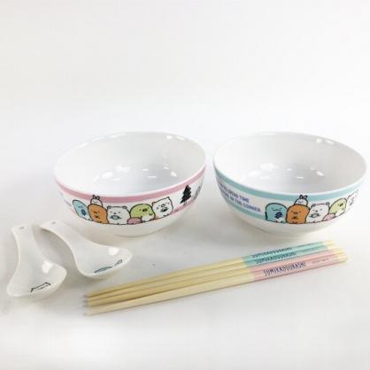 小禮堂 角落生物 陶瓷碗組 附匙筷 沙拉碗 點心碗 飯碗 湯碗 (藍 橫紋)