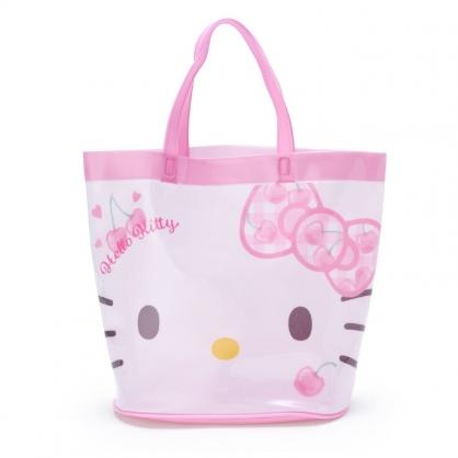 小禮堂 Hello Kitty 透明海灘袋 水桶提袋 游泳袋 泳具袋 防水袋 (粉 2021炎夏企劃)